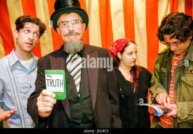 Indiana Valparaiso Chicago Street Theatre Assassins characters drama man men woman actor performer play stage costume - Stock Image