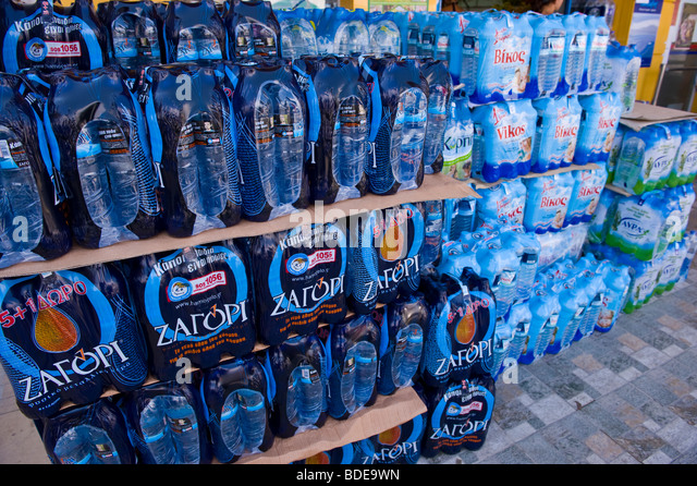 Bottled water for sale at Argostoli on the Greek Mediterranean island of Kefalonia Greece GR - Stock Image