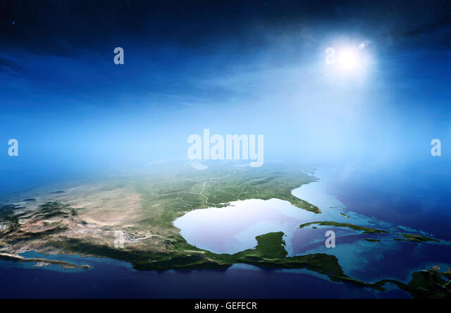 North America sunrise aerial view background  (Elements of this 3D rendered image furnished by NASA) - Stock Image