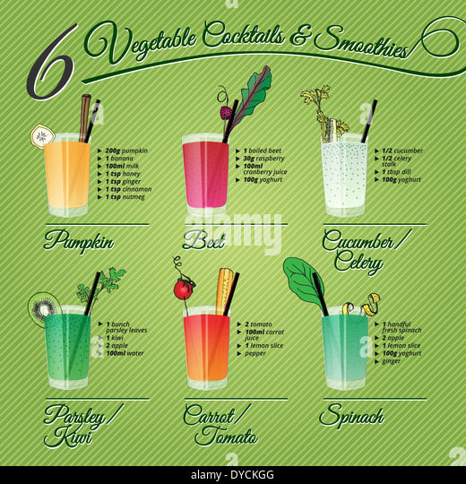 FRESH VEGETABLE COCKTAILS & SMOOTHIES recipes and illustrations with fruit and spices decoration - Stock Image