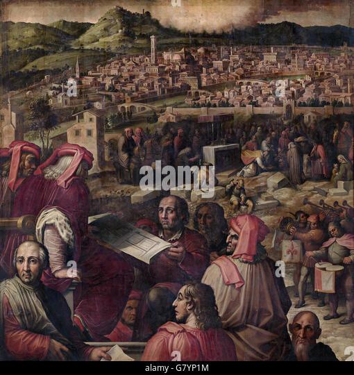 Giorgio Vasari - Arnolfo shows the plan to enlarge Florence - Stock Image
