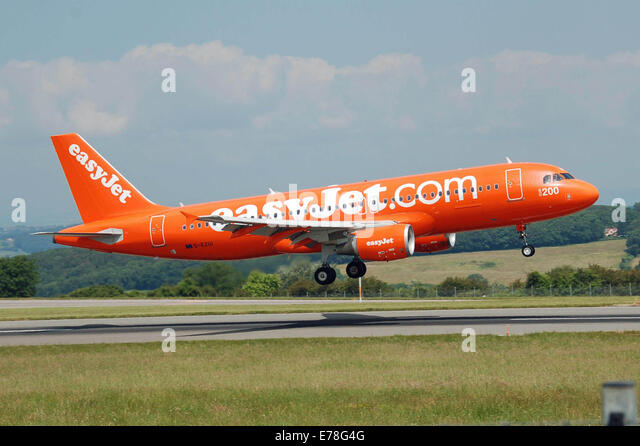Easyjet Airbus A320-200 (G-EZUI) flares at Bristol Airport, Bristol, England. The '200' marking and the - Stock Image