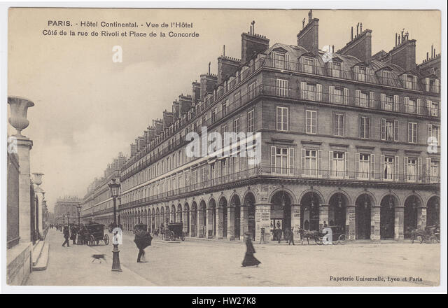 Hotel Continental & Rue de Rivoli, Paris, France - Stock Image