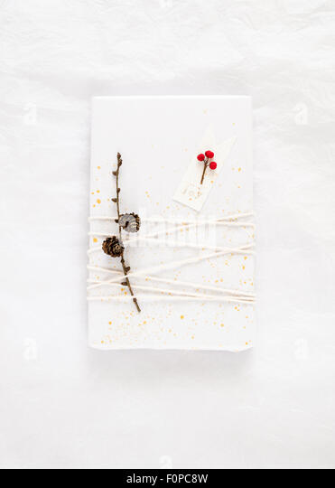 simple gift wrapping made with white tissue paper decorated with splatters of gold paint twine a twig with pine - Stock Image