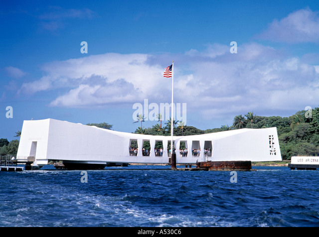 Monument to Pearl Habour attack, Hawaii, USA - Stock Image