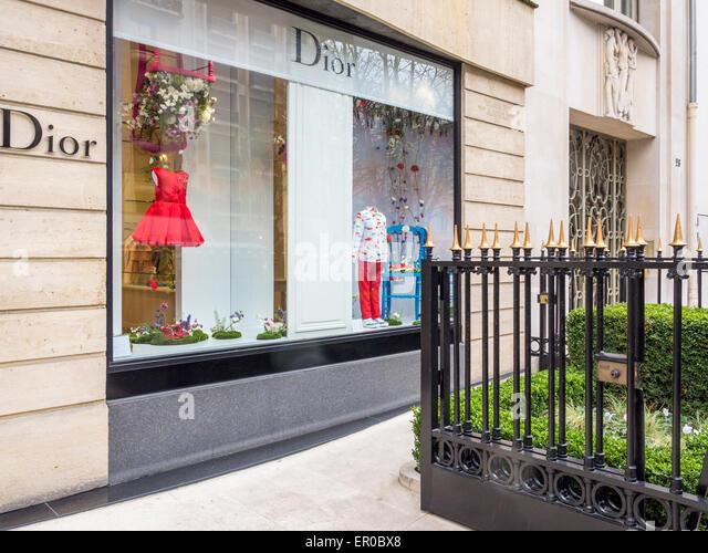 Christian Dior children's designer store window, Avenue Montaigne, Paris - street of elegant, luxury, designer - Stock Image