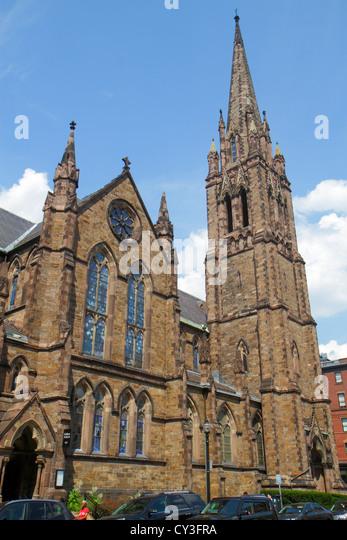 Boston Massachusetts Back Bay Newbury Street Church of the Covenant exterior steeple - Stock Image