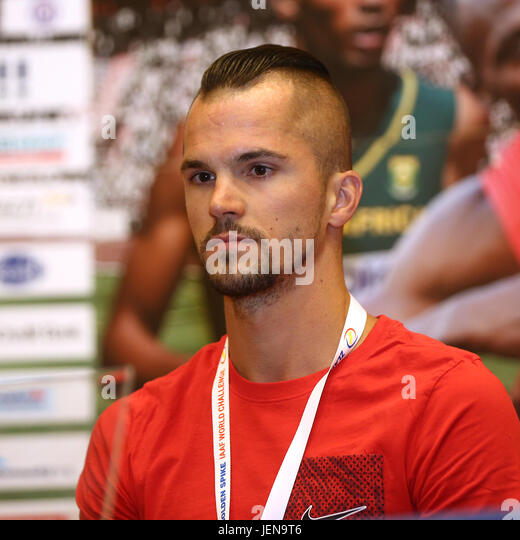 Ostrava, Czech Republic. 27th June, 2017. Czech athlete Jakub Holusa attends the press conference prior to the Golden - Stock-Bilder