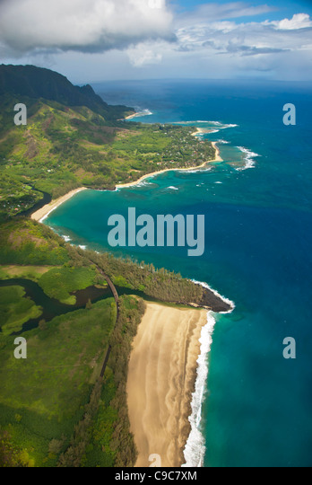Kauai, Hawaii, Napali Coast aerial landscape scenic showing miles of deserted beaches - Stock Image