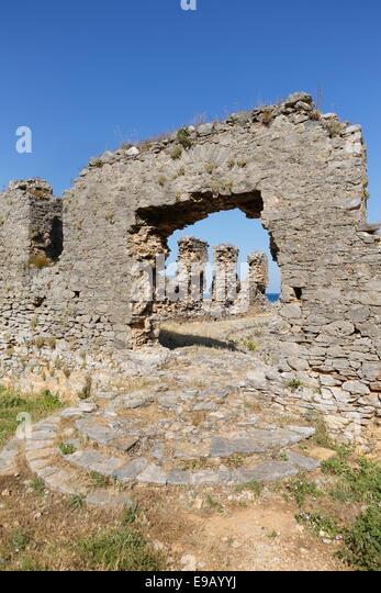 Odeon, ancient city Anemurium, Anamur, Mersin Province, Rugged Cilicia, Turkish Riviera, Turkey - Stock Image