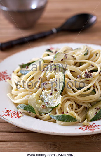 Flaxseed courgette spaghetti - Stock Image