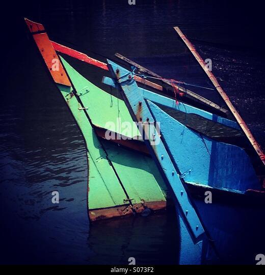 Tradisional fishing boats in Terengganu, Malaysia - Stock Image