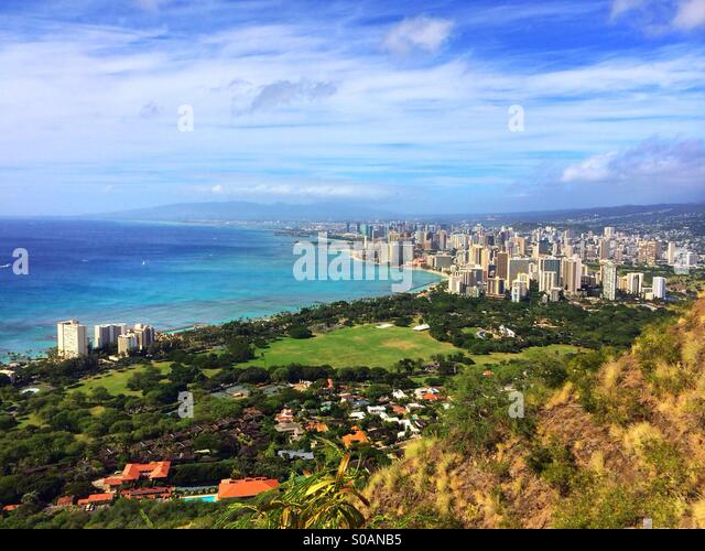 Photo taken on Diamond Head Crater, Oahu - Stock Image