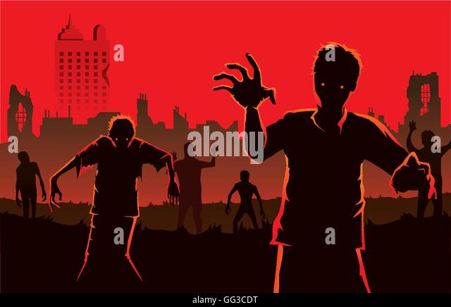 Zombie walking out from abandoned city. - Stock Image