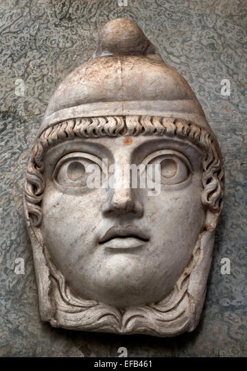 Antiquity marble mask of a Satyr - Cortile Ottagonale of the Museo Pio-Clementino  ( Vatican Museum Rome Italy ) - Stock Image