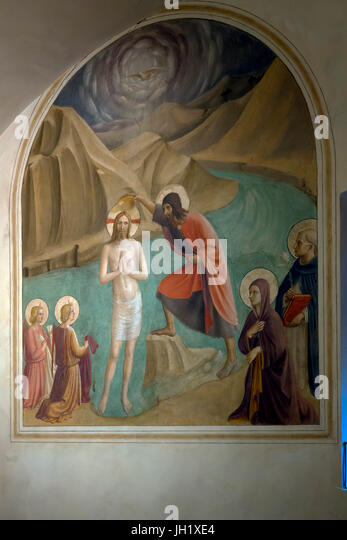 Baptism of Christ with Mary and Saint Dominic, by Fra Beato Angelico, 1439-1445, Convent of San Marco, Florence, - Stock Image