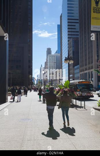 North Michigan Avenue, Chicago, Illinois, United States of America, North America - Stock Image