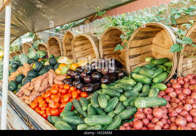 Roadside fresh vegetable stand with potatoes, cucumbers, eggplant, tomatoes and more. - Stock Image