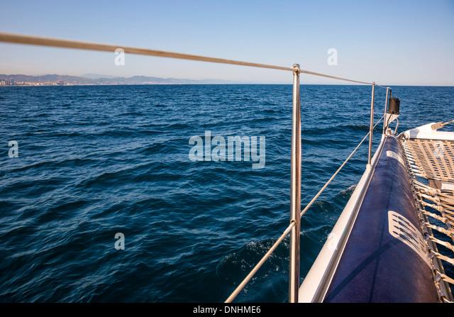 Boat moving in the sea, Barcelona, Catalonia, Spain - Stock-Bilder