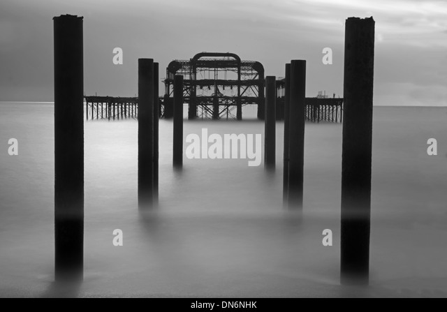The Remains Of The West Pier, Hove, East Sussex, England, Uk.( Black And White) - Stock Image