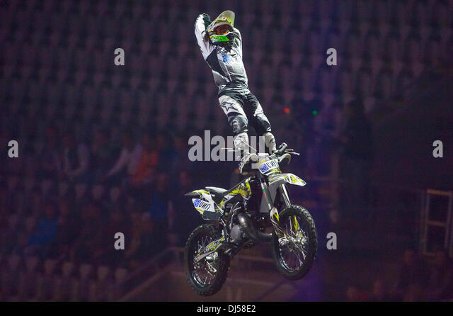 Oslo, Norway. 21st November 2013. Blake Bilko Williams does a lazy boy freestyle motocross trick during the Nitro - Stock Image