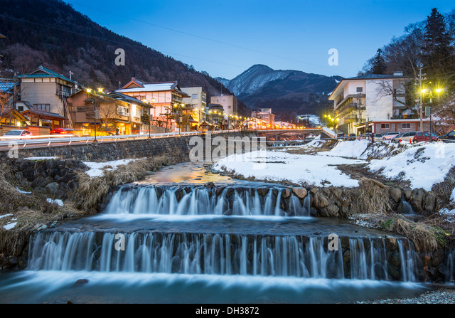 Springs in the small Town of Shibu, Nagano, Japan. The town is famed for its hot springs. - Stock Image