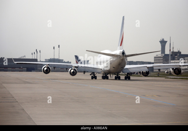 Air France Boeing 747 Jumbo Jet taxiing on taxiway at Charles De Gaulle International Airport Paris France - Stock Image