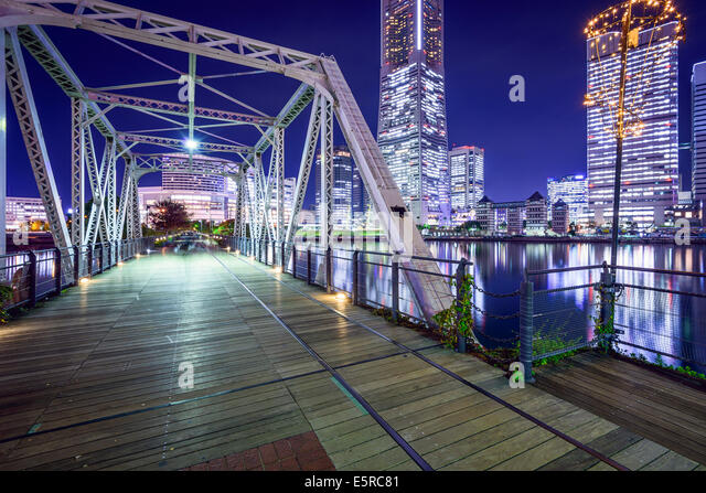 Yokohama, Japan at Minato Mirai park and pedestrian bridge. - Stock Image
