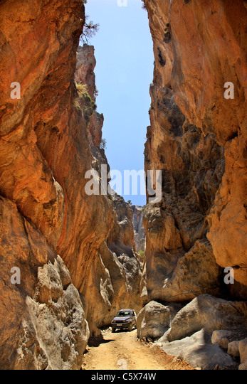 The spectacular Trypiti canyon, to the south of Heraklion prefecture, Crete. Right behind it there is a beautiful - Stock Image