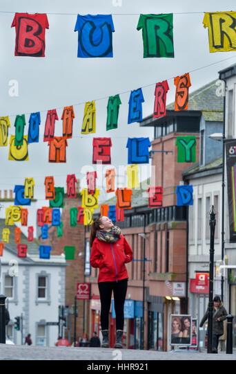 Big Burns Supper Carnival, Dumfries, Scotland. Artist Rachael McDougall views her art installation The Washing Line - Stock Image