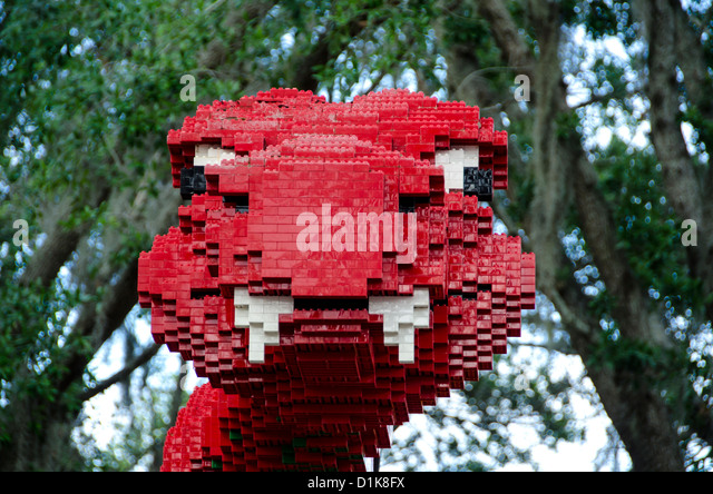 Legoland Florida red Lego giant snake Winter Haven, FL - Stock Image