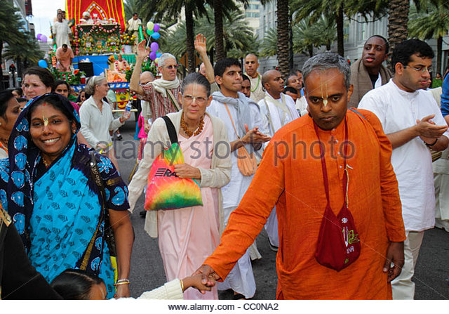 New Orleans Louisiana downtown Canal Street Festival of India Rath Yatra Hare Krishna Hinduism Eastern religion - Stock Image