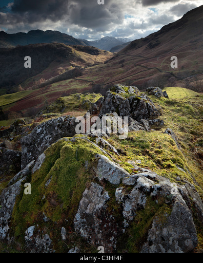 Dramatic view of Great Gable as seen from Castle Crag near Rosthwaite in the Lake District of England - Stock Image