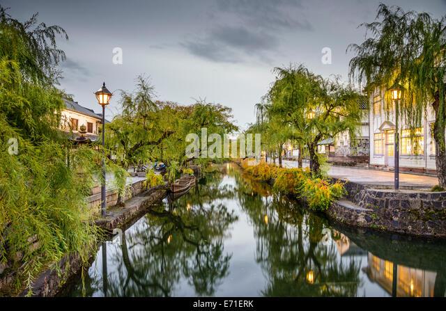 Okayama, Japan at the historic Kurashiki Canal - Stock-Bilder
