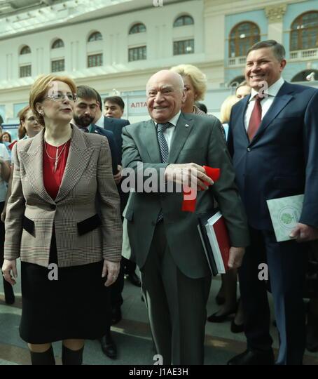 Moscow, Russia. 19th Apr, 2017. Russia's Healthcare Minister Veronika Skvortsova, Head of Bakulev Scientific - Stock Image