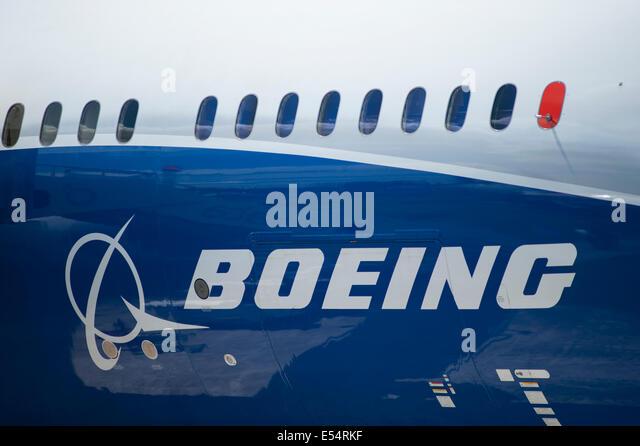 Boeing Dreamliner Fuselage logo, Farnborough International Airshow 2014 - Stock Image
