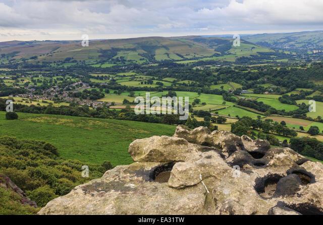 Hope village from Bamford Edge under heavy cloud in summer, Dark Peak, Peak District, Derbyshire, England, United - Stock Image