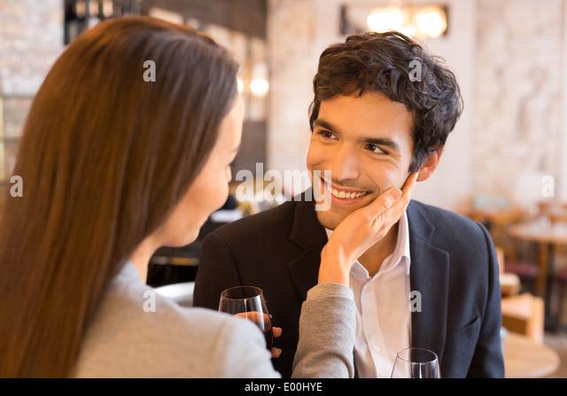 Woman man cheerful lover drinking bar coffee - Stock-Bilder
