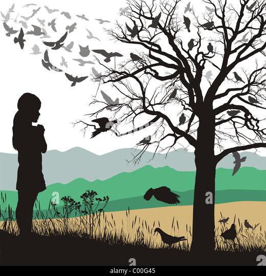 Girl admires the birds - Stock Image