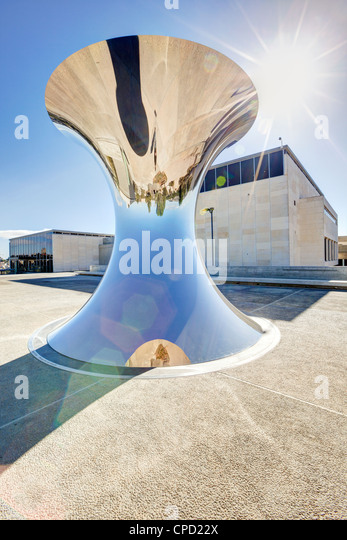 Sculpture ouside the museum containing the Dead Sea Scrolls, Israel Museum, Jerusalem, Israel, Middle East - Stock Image