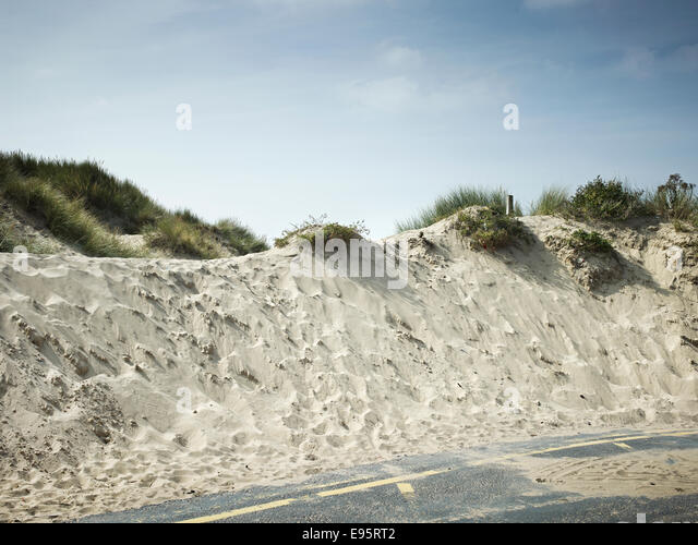 pleasure prom 2014 Blackpool sand dunes at south beach promenade by the pleasure beach - Stock Image