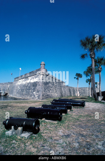 Florida St Augustine El Castillo de san marcos cannon - Stock Image