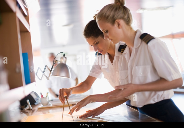 Sailors setting the compasses - Stock Image