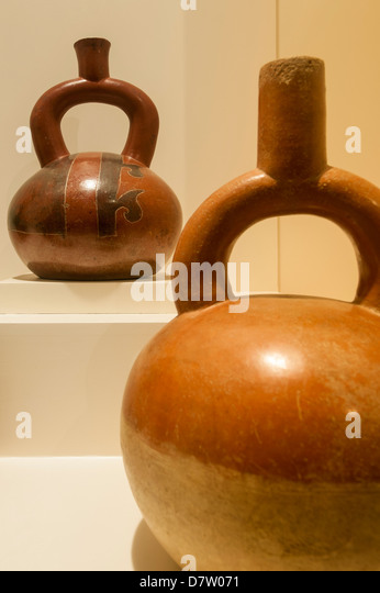 Pre-Columbian artifacts and art in the Larco Museum, Lima, Peru, South America - Stock Image