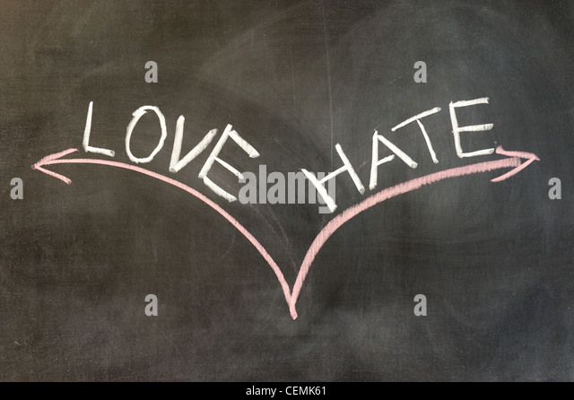 Chalk drawing - Love or hate - Stock Image