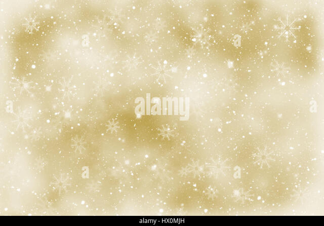 Golden Christmas sparkly background with snowflakes - Stock Image