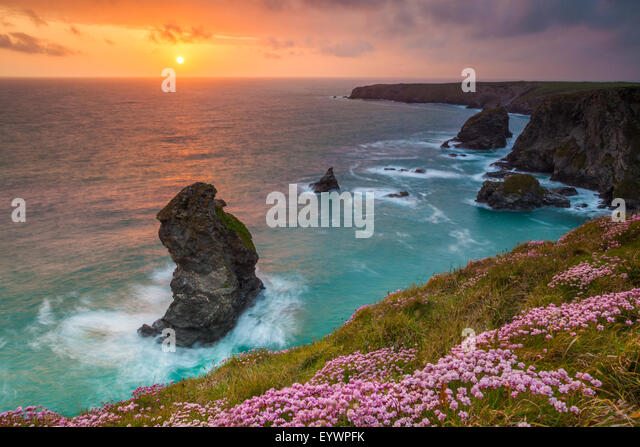 Bedruthan Steps, Newquay, Cornwall, England, United Kingdom, Europe - Stock Image