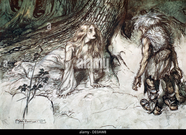 'Mime finds the mother of Siegfried in the forest', 1924.  Artist: Arthur Rackham - Stock Image