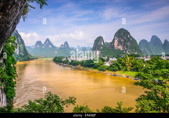 Guilin, China on the Li River. - Stock Image