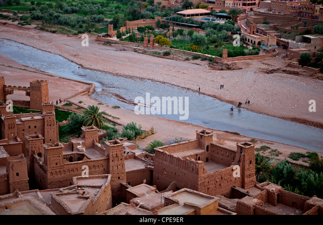 Lookink down on the Kasbah, Ait-Benhaddou, UNESCO World Heritage Site, Morocco, North Africa, Africa - Stock Image